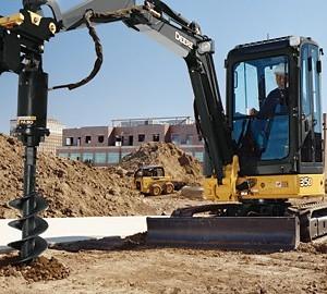 """Mini Excavator – 10,000 lb – w/ Auger & 24"""" Bit"""