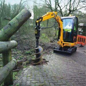"""Mini Excavator – 6,000 lb – w/ Auger & 24"""" Bit"""
